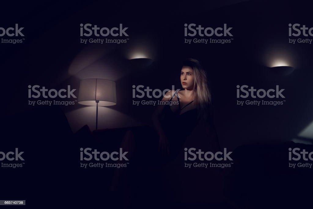 feelings in the night stock photo