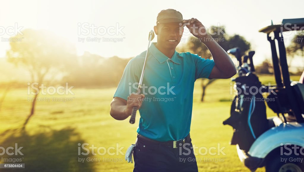 Feels good to get out on the greens stock photo