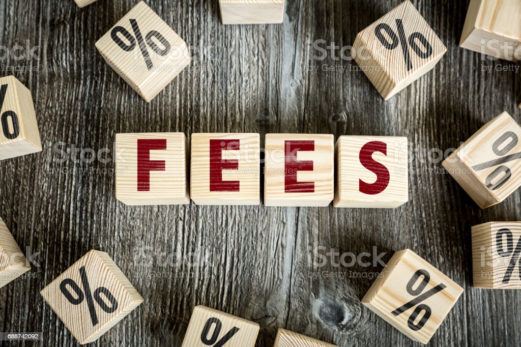 Fees sign stock photo