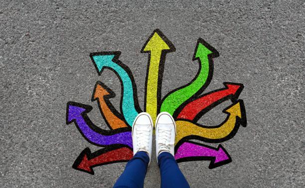 voeten en pijlen op de achtergrond van de weg. paar voet staande op geasfalteerde weg met kleurrijke graffiti pijl teken keuzes - keus stockfoto's en -beelden