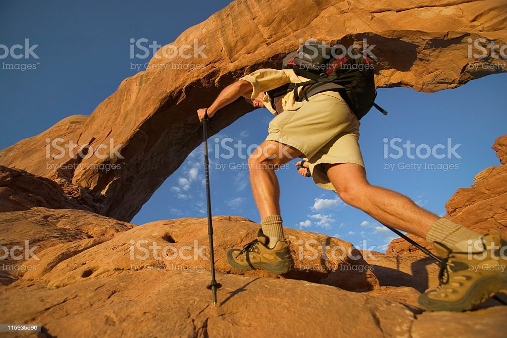 Feet and Legs of Backpacker in Moab,Utah Hiker in Arches National Park Adult Stock Photo