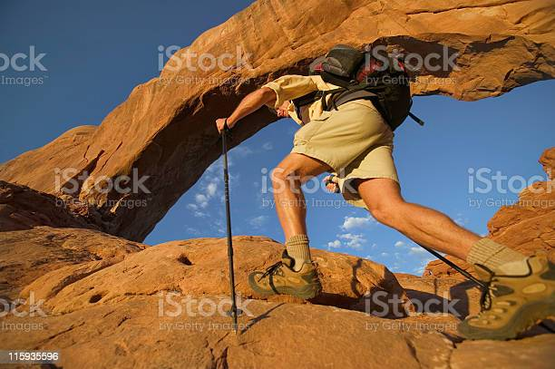 Feet And Legs Of Backpacker In Moabutah Stock Photo - Download Image Now