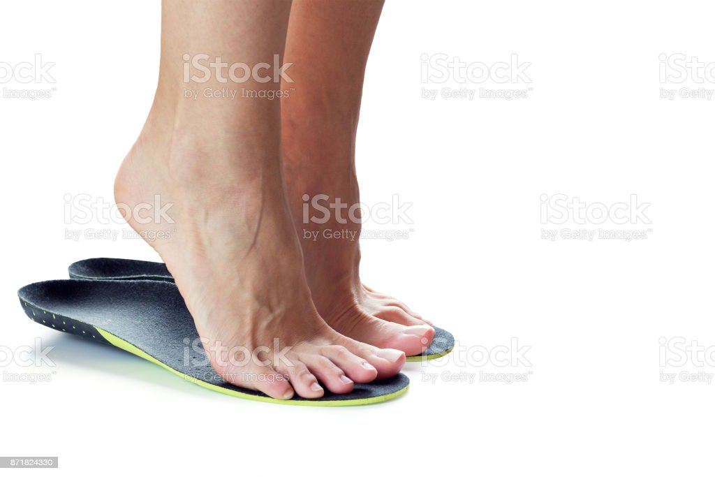 feet and orthopedic insoles stock photo