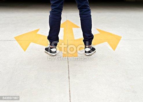 istock Feet and three arrows painted on floor 543597562