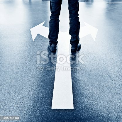 istock Feet and two arrows painted on floor 635759200