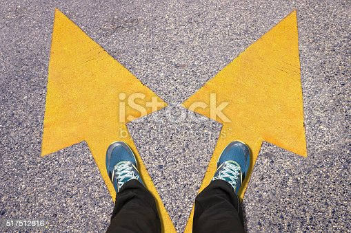 186103814istockphoto Feet and words Work and Life  painted on road 517512816