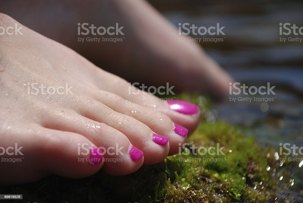 Feet at the waters edge royalty-free stock photo
