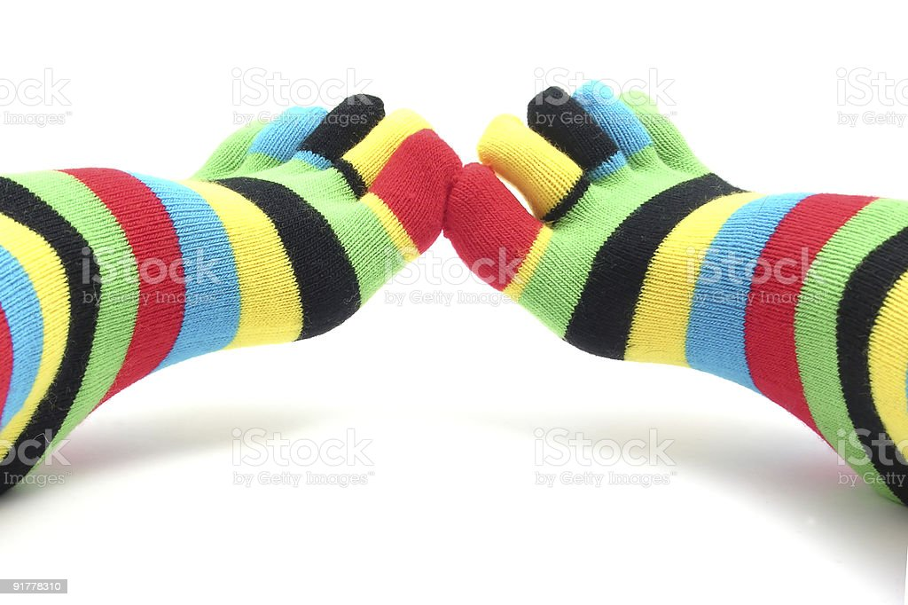 Feet dressed with annulated stockings stock photo