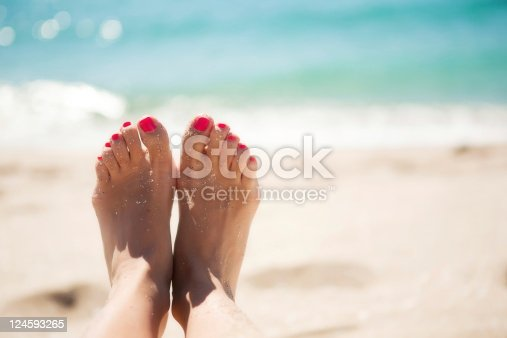 Two feet standing by the sea and reflection