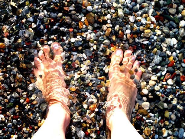 pés na água sobre seixos - com os pés na água - fotografias e filmes do acervo