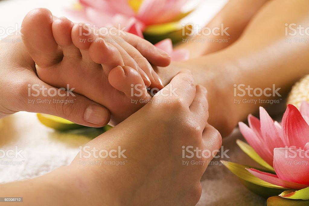 Feet massage stock photo