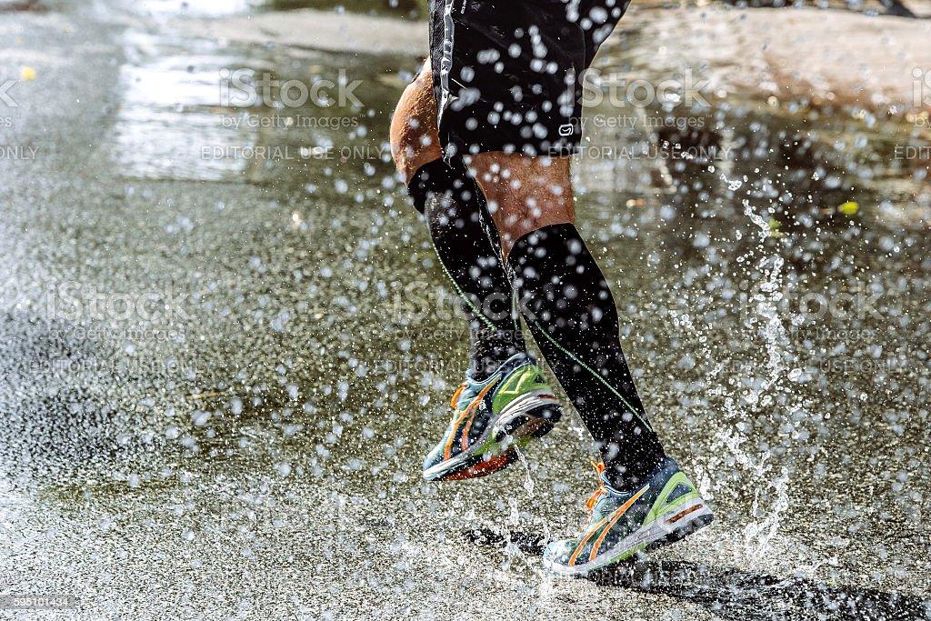feet men athletic compression socks stock photo