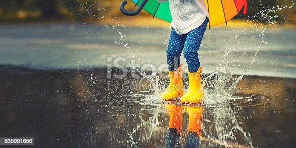 istock Feet of  child in yellow rubber boots jumping over  puddle in rain 835991656