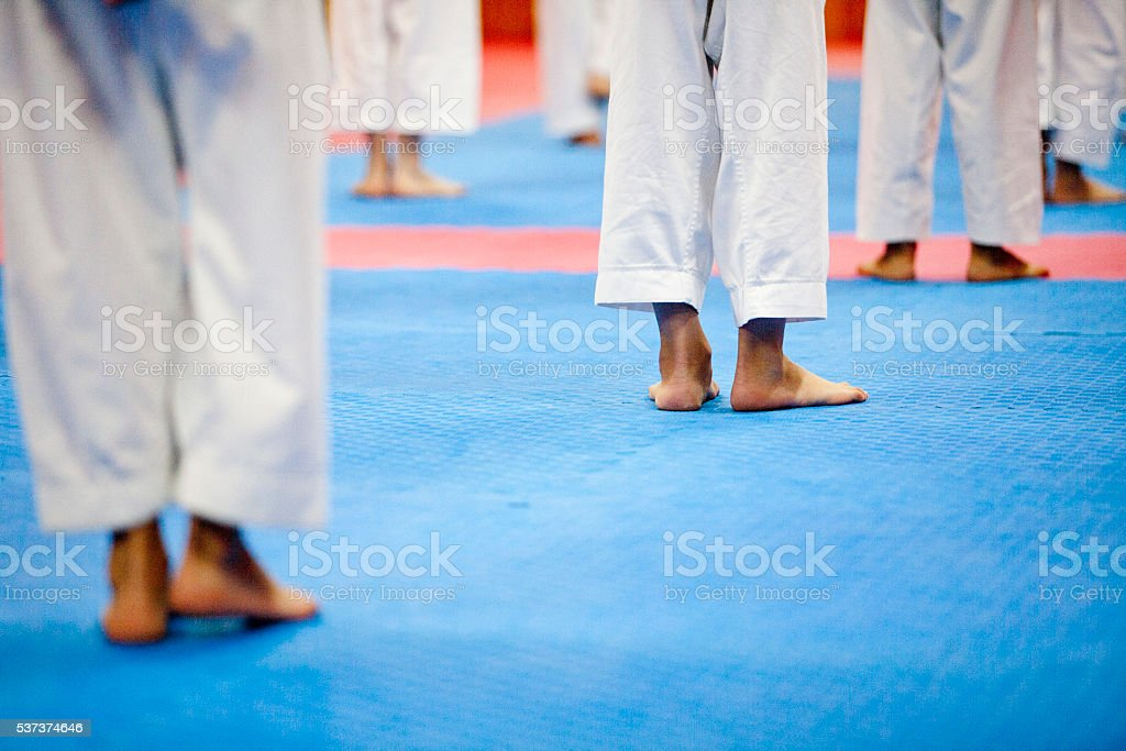 feet of matial arts participants stock photo