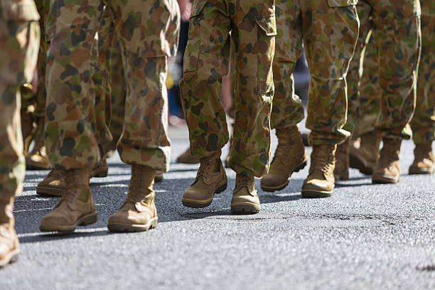 Feet of Soldiers Marching at ANZAC Day stock photo