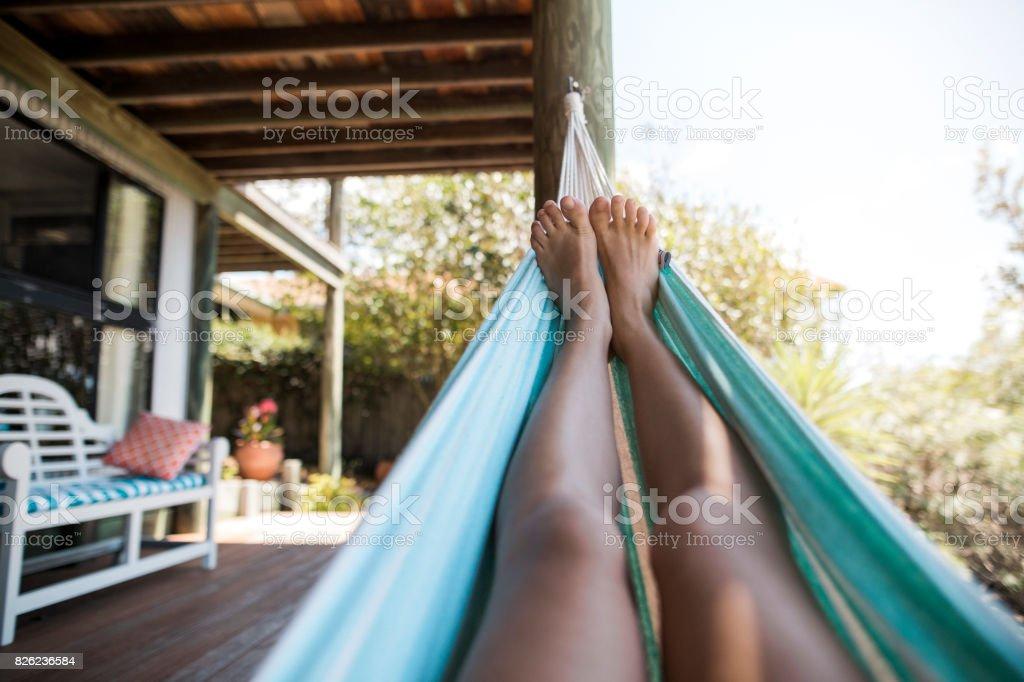 Feet on a Hammock stock photo