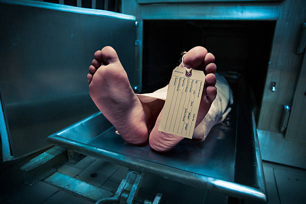 Feet on a morgue table with toe tag stock photo