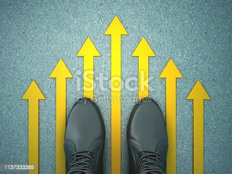 954712506istockphoto Feet on Asphalt Road with Arrows - 3D Rendering 1137333385