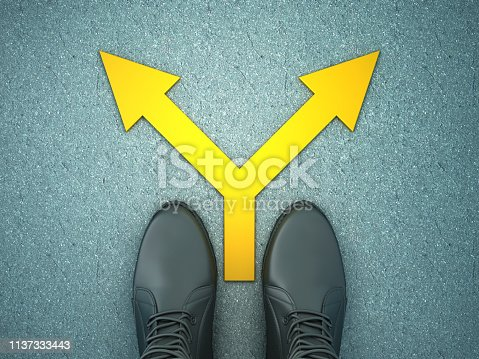 954712506istockphoto Feet on Asphalt Road with Arrows - 3D Rendering 1137333443