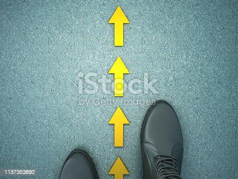 954712506istockphoto Feet on Asphalt Road with Arrows - 3D Rendering 1137353892