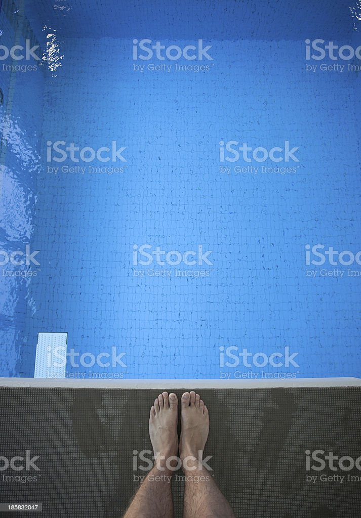 feet on diving platform stock photo