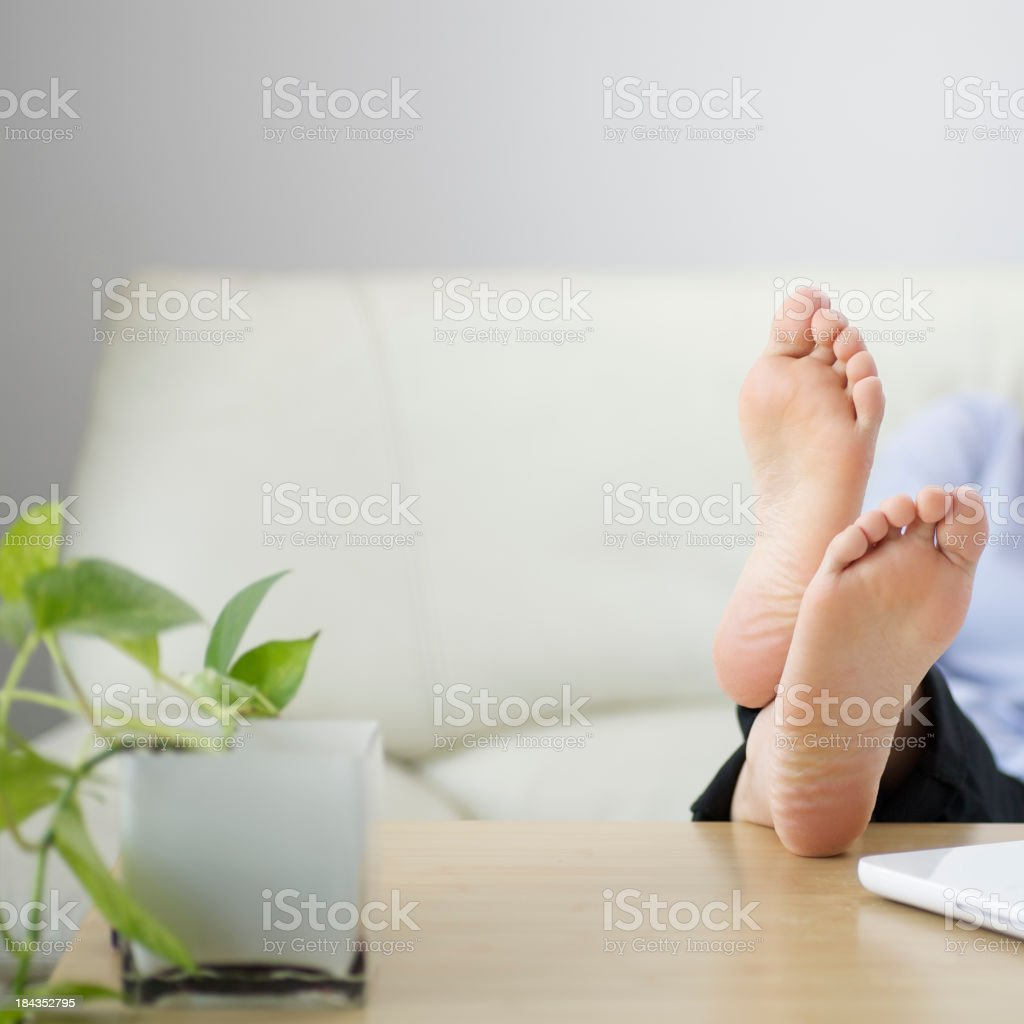 feet on the table royalty-free stock photo