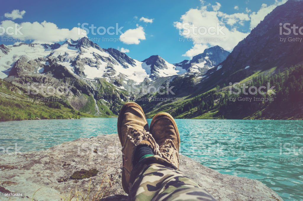 Feet Selfie Traveler relaxing with lake royalty-free stock photo