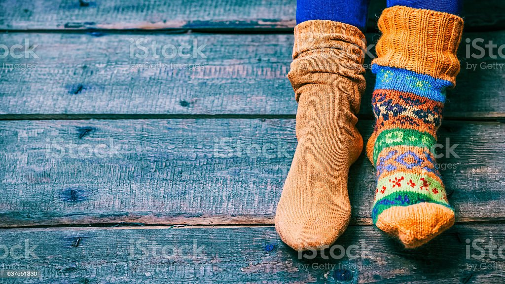 Feet wearing socks - foto de stock