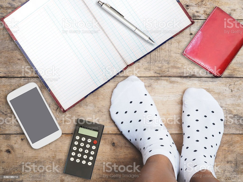 feet wearing white polka dot socks royalty-free stock photo