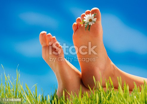 young woman`s feet, lying in Meadow with a flower between her toes