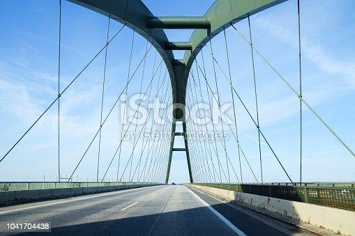 Fehmarn Sound Bridge (German: Fehmarnsundbrücke), suspension bridge with steel arches connecting the German mainland with the island Fehmarn in the Baltic Sea