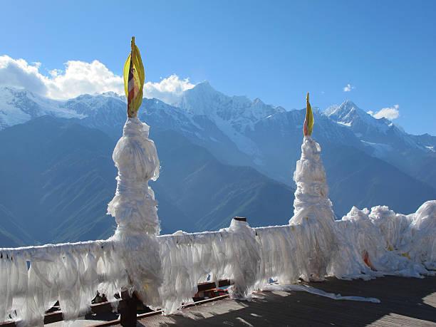 Feilai temple and Meili snow mountain, Deqin, Yunnan, China stock photo