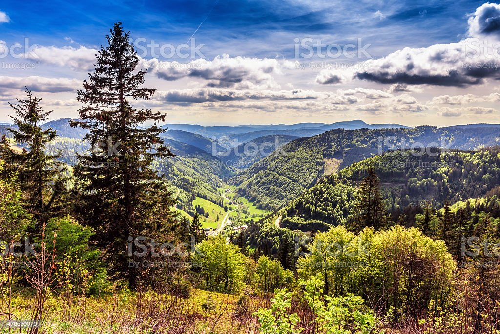 Feldberg Mountain in Spring Feldberg Mountain in Germany in Spring. Lovely Hills and Forests. Blue cloudy sky. Fantastic Landscape 2015 Stock Photo