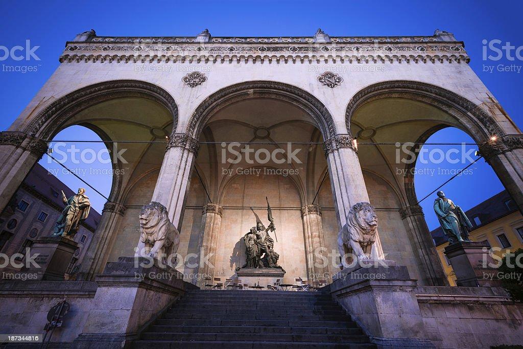 Feldherrnhalle at Odeonsplatz in Munich, Germany royalty-free stock photo