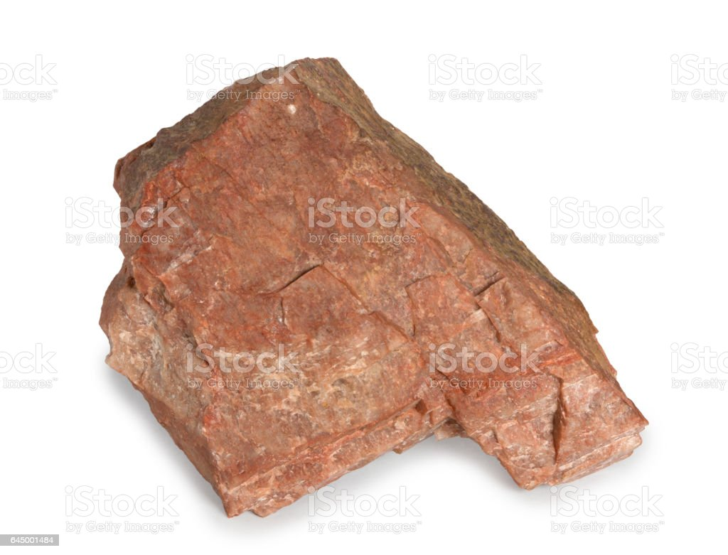 Feldspar mineral stone isolated on white background. stock photo
