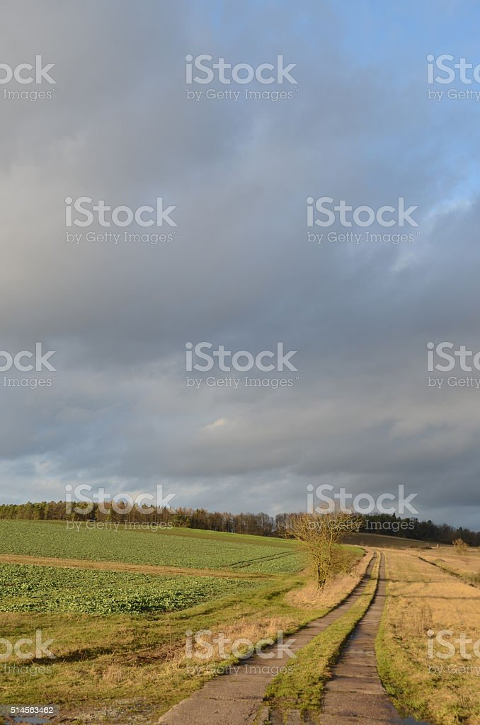 Feldweg Herbstlandschaft stock photo