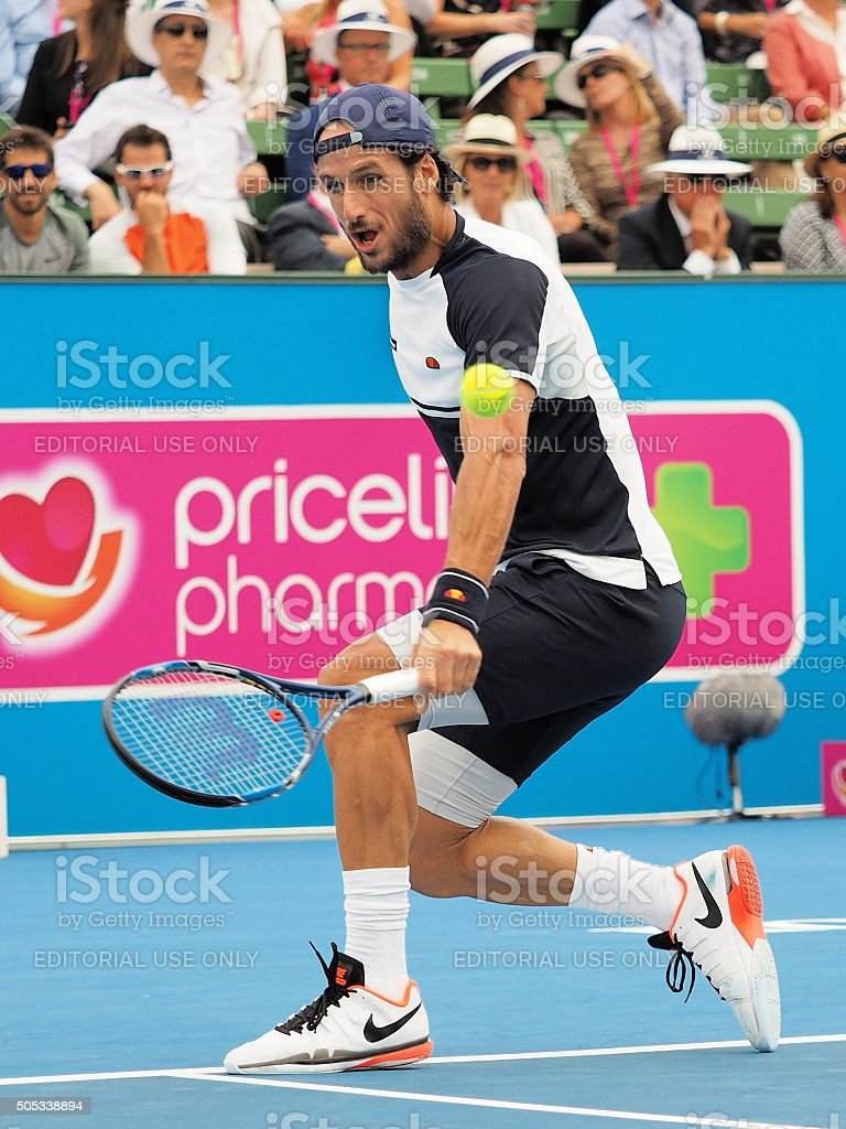 Feliciano Lopez of Spain slice backhand stock photo