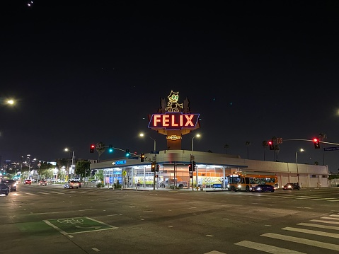 Felix Chevrolet dealership in Downtown Los Angeles at night