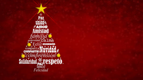 Feliz Navidad - Merry Christmas in Spanish language. Word cloud forming a Christmas tree with a bright star on the tip on a red background with snowflakes. 3D Illustration Greeting card of Feliz Navidad - Merry Christmas in Spanish language. Word cloud forming a Christmas tree with a bright star on the tip on a red background with snowflakes. 3D Illustration navidad stock pictures, royalty-free photos & images