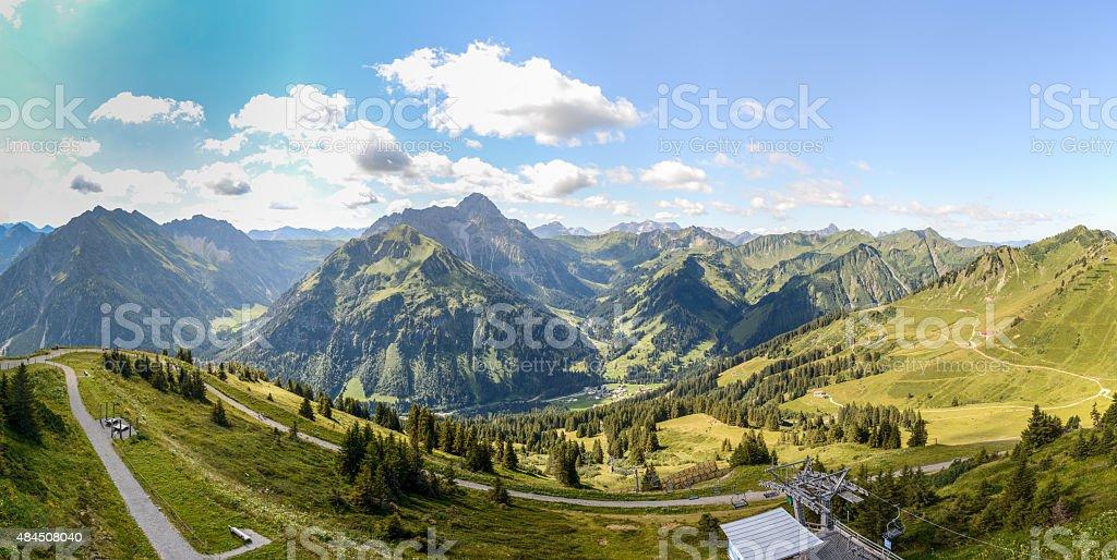 Fellhorn-View - Hochifen, Widderstein and Gottesacker, Kleinwalsertal stock photo