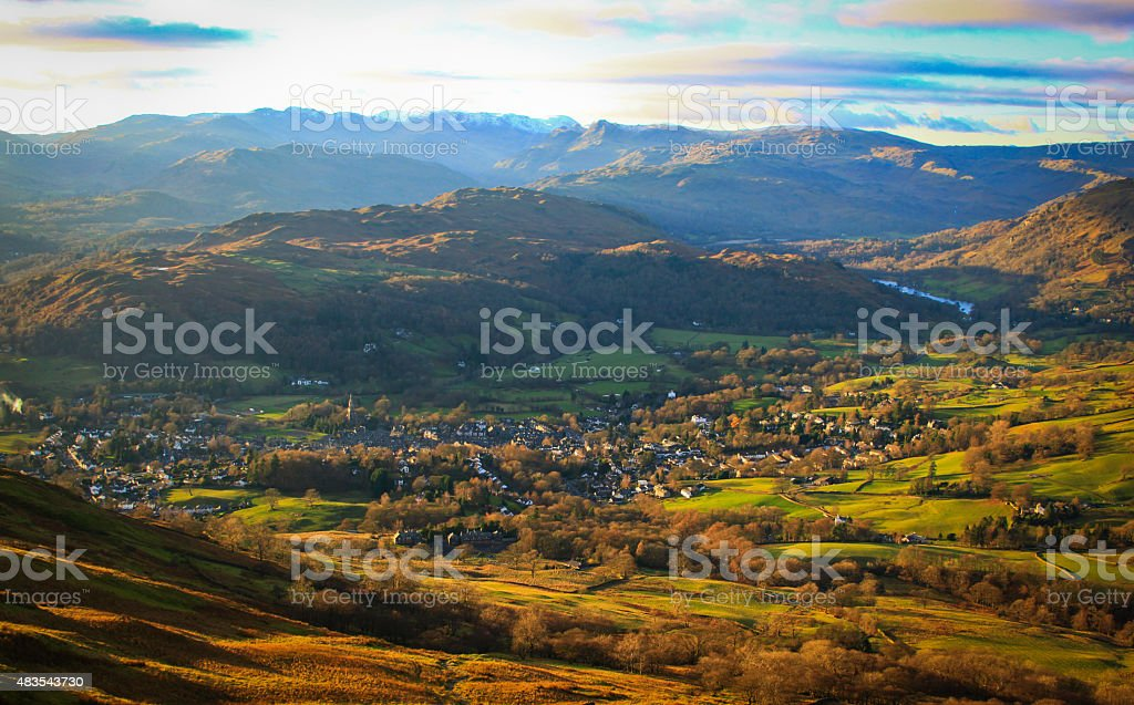 Fells of the Lake District with an aerial view of Ambleside stock photo