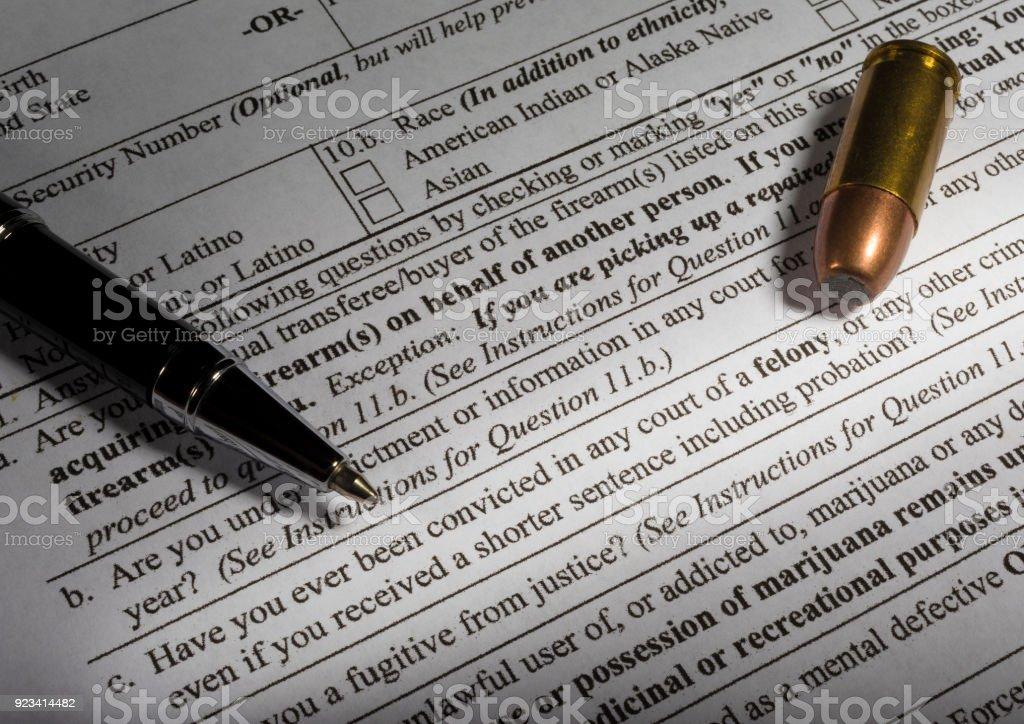 Kapitalverbrechen Ausgrenzung auf Waffe kaufen Zuverlässigkeitsüberprüfung – Foto