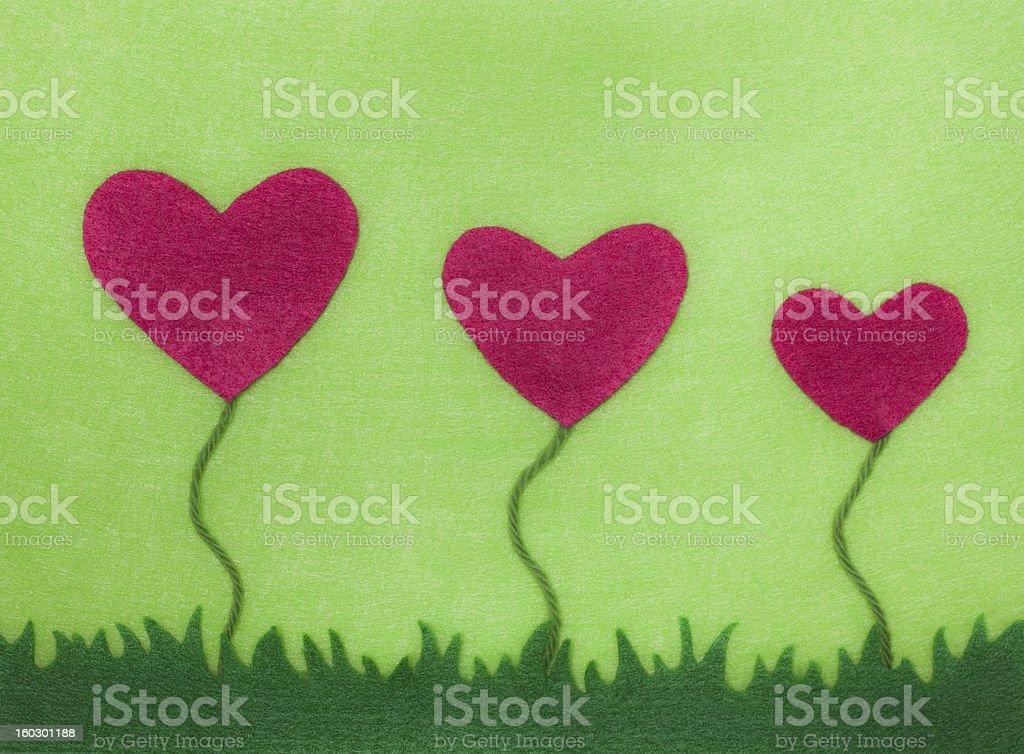 Felt Heart Flower Card royalty-free stock photo