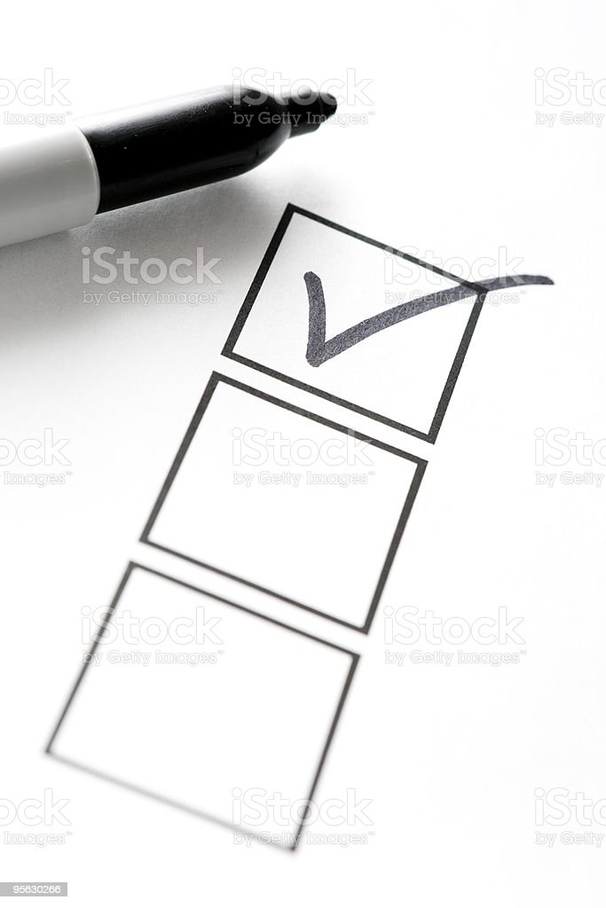 Felt Marker with Check Mark and Boxes stock photo