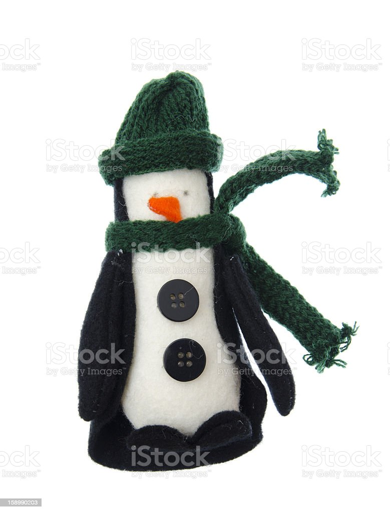 Felt penguin Christmas ornament on white royalty-free stock photo