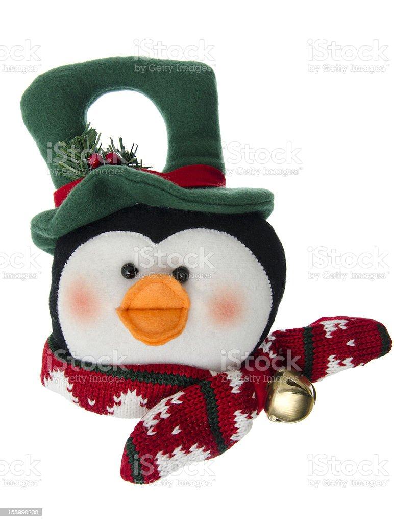Felt penguin Christmas ornament on white royalty-free stock photo