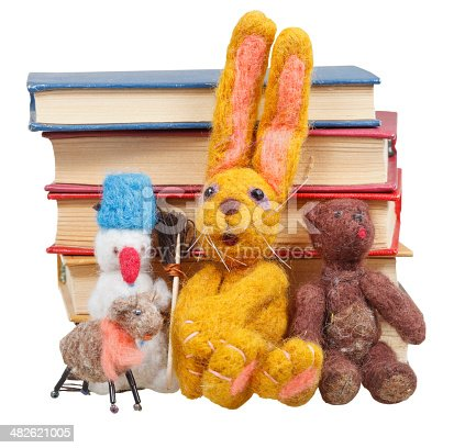 153178960istockphoto felt soft toys near stack of books 482621005