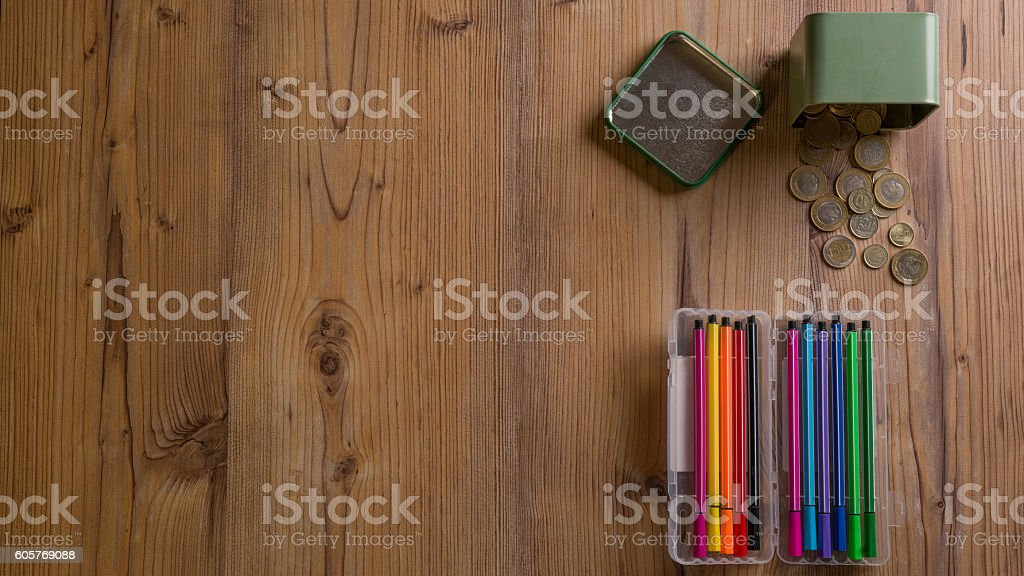 Felt Tip Pen and coins stock photo