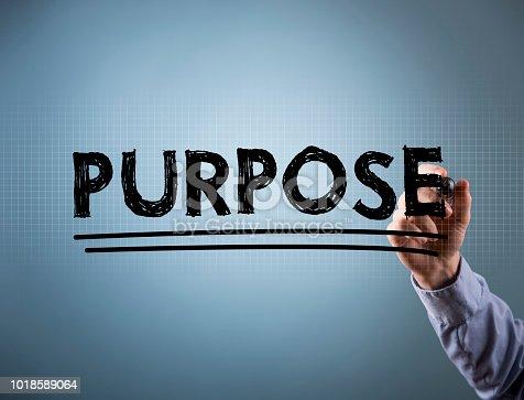 PURPOSE / Felt tip pen blue background concept (Click for more)