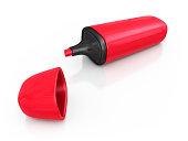 isolated red felt tip pen.3d render.